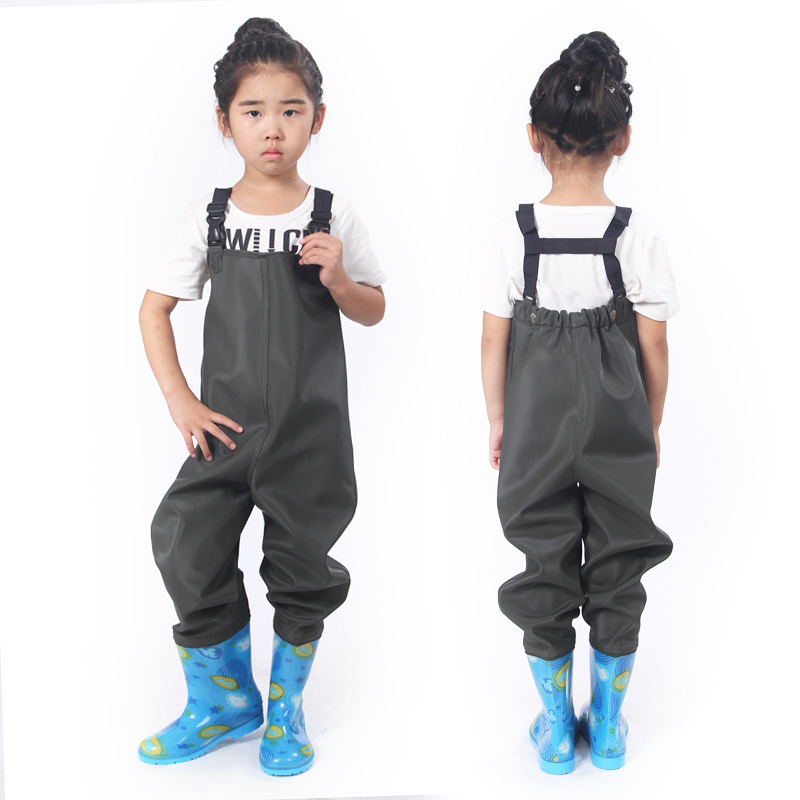 Fishing Waterproof Girl Boy Children Soft Leather Fork Suspender Pants Rain Boot Kids Play Wader With Water Shoes Waist Trousers