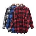 2017 Nuevas Mujeres Del Resorte Camisa A Cuadros de Manga Larga 3 Colores Disponibles Da Vuelta-abajo Señora Casual Plaid Camisa Del Batwing estilo MT987