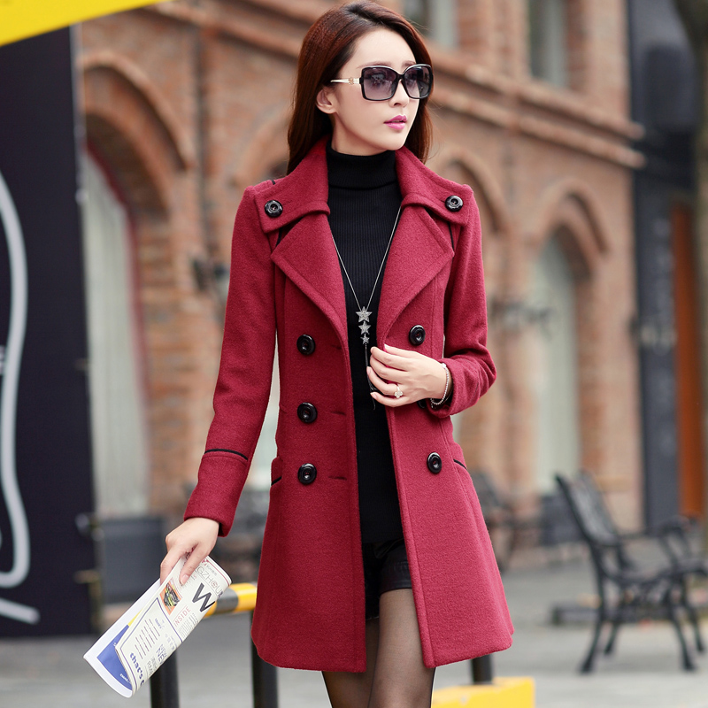 Ladies Winter Coats 2015 Double Breasted Trench Coat For Women Wool