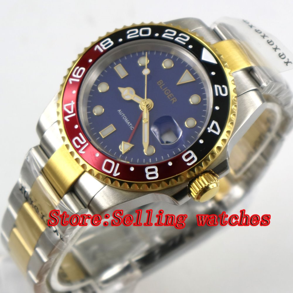 лучшая цена 40mm bliger blue dial sapphire glass Red & black bezel GMT date automatic men watch