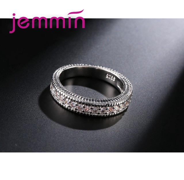 2pcs/lot Female Crystal White Round Ring Set Luxury 925 Silver Engagement Ring For Women Ladies Lover Party Wedding 4