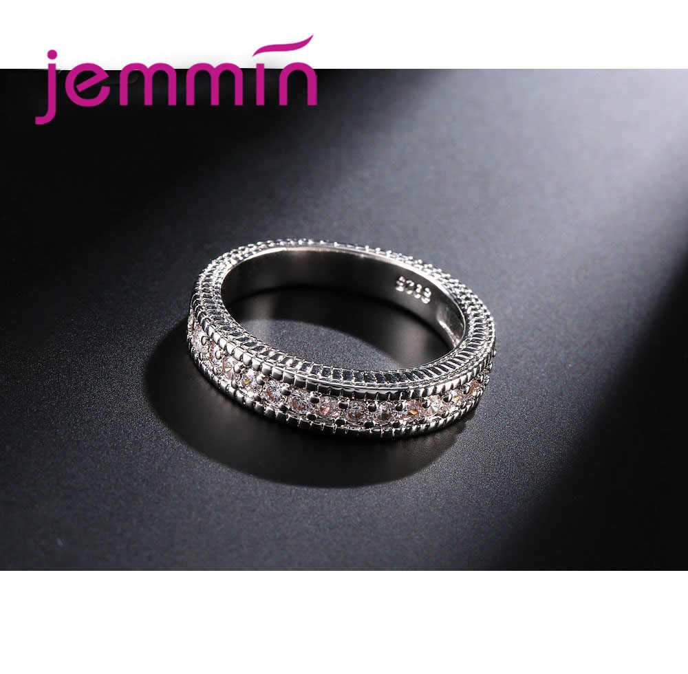 2 ชิ้น/ล็อตหญิงคริสตัลสีขาวรอบแหวนชุด Luxury 925 แหวนหมั้นแหวนเงินสำหรับสุภาพสตรี Lover Party งานแต่งงาน