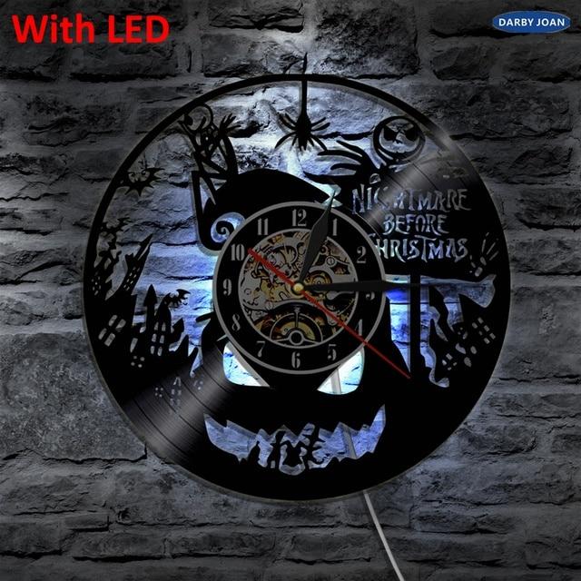 nightmare before christmas silhouette led backlight modern light vinyl clock color change home decor lamp remote