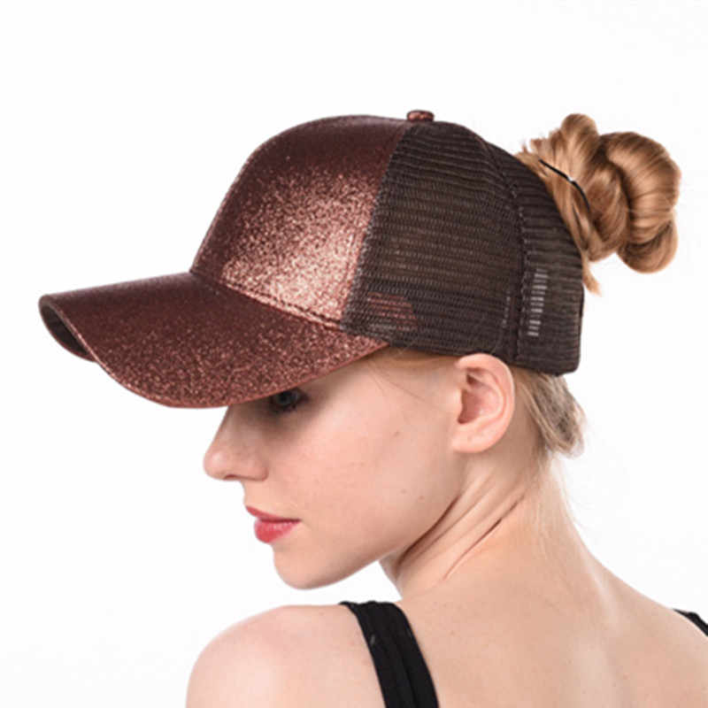 b8a07859 Drop Shipping Glitter Ponytail Baseball Cap Women Snapback Hat ...