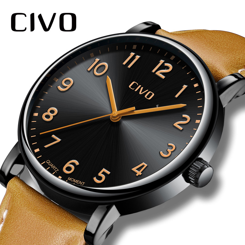 CIVO Watch Men Fashion Simple Waterproof Analogue Watches Re