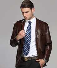 2017 Autumn Male Business Leather Jacket Clothing Men's Suit Collar  Single Breasted Medium-Long Leather Trench Casaco de couro