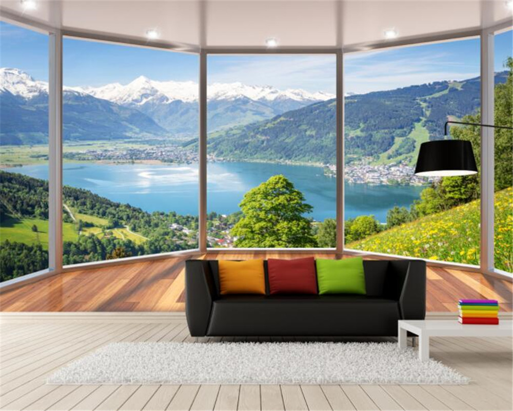 beibehang custom 3d wallpaper 3d stereo balcony windows floor
