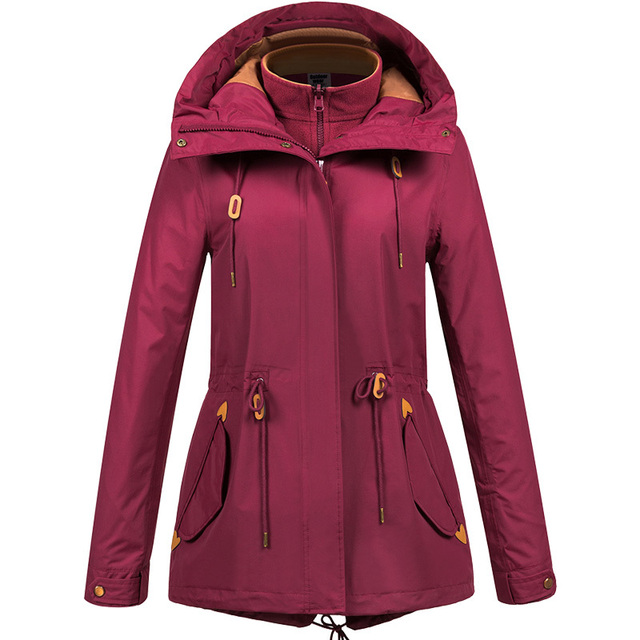 ZYNNEVA Autumn Winter Coat Women 3 in 1 Mountain Camping Hiking Suit Ski Windproof Jackets Thermal Waterproof Clothing GK1209
