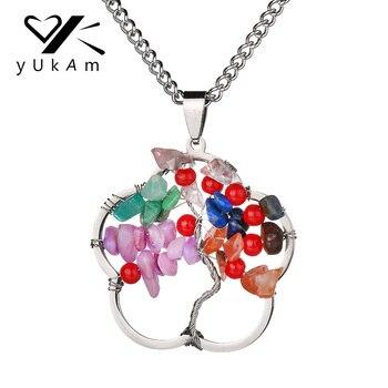 a726c64f5a28 YUKAM hueco Chakra Árbol de la vida collares pendientes Lucky Multi Color  Natural cuarzo piedra sabiduría árbol Collar para las mujeres joyería