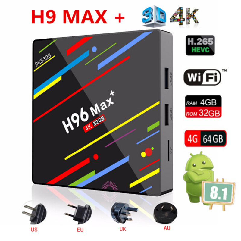 AKASO Rockchip RK3328 H96 MAX Plus TV BOX Android 8.1 Smart TV BOX 4 gb 32 gb 64 gb USB3.0 H.265 4 karat MAX Set Top Boxe MediaPlayer