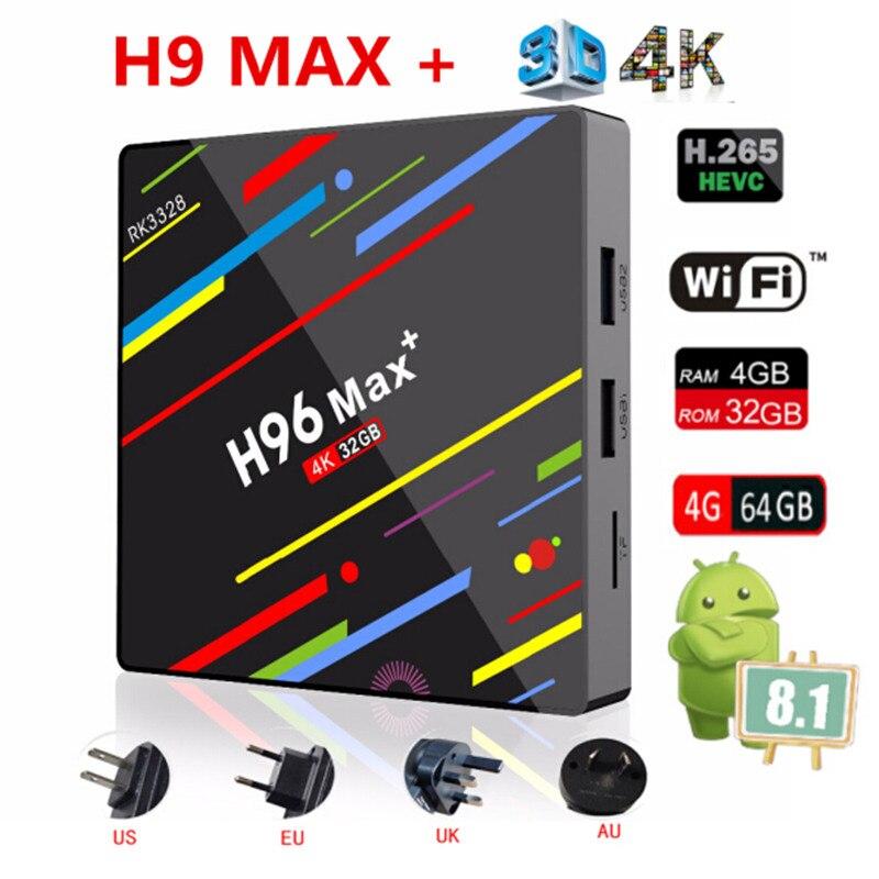 H96 MAX Plus Smart TV BOX Android 9.0 RK3328 4K Media Player QuadCore 4GB Ram 64GB ROM 8.1 H96Max + TVBOX USB3.0 BT pk X96MAX
