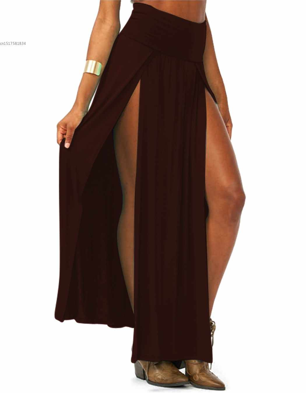 abb9b56bdc1e4 2019 New Arrival High Waisted Sexy Womens Double Slits Summer Solid Long  Maxi Skirt Wholesale 51