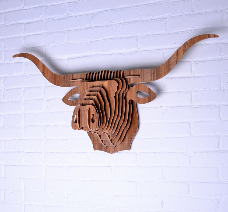 Bull Head Wood Crafts Wall Hanging Home Store Hotel Cafe Decoration