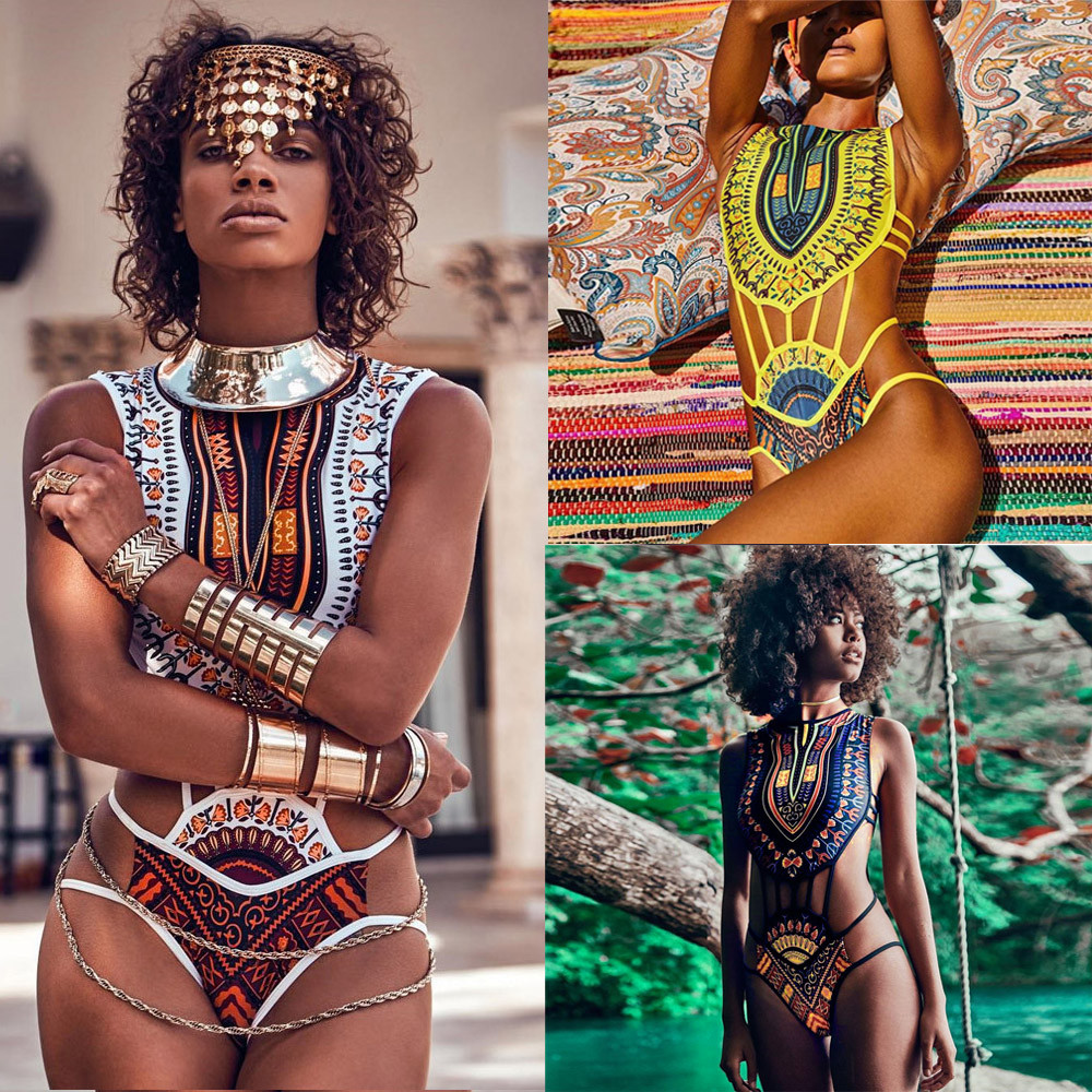 2018 New Women African Print Bikini Set Swimwear Push-Up Padded Bra Swimsuit Beachwear Lady Print Vintage Ethnic Bikini