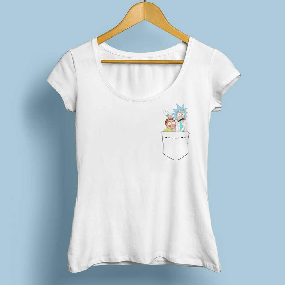 RICK AND MORTY in pocket funny t shirt femme jollypeach brand new white casual tshirt women pickle ricky morti tee shirt