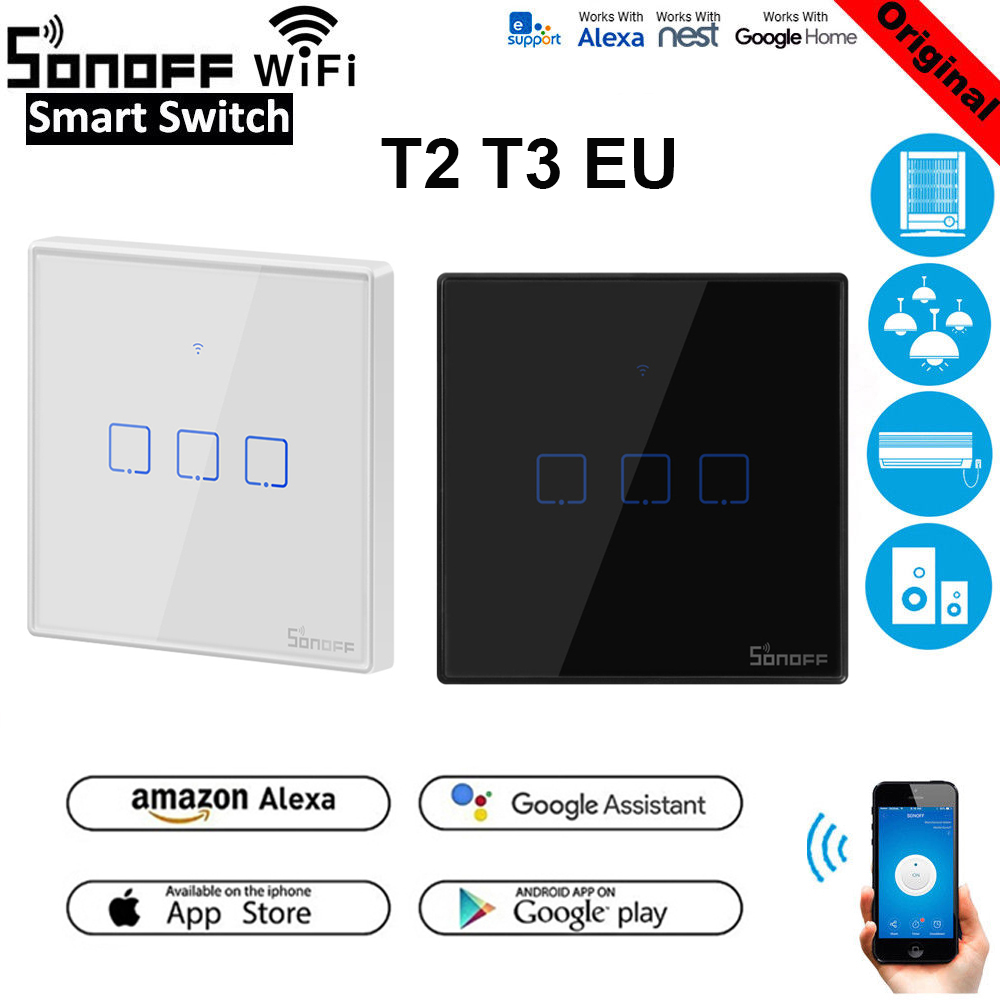 Sonoff T1 EU T2 T3 Smart Wifi Wall Light Switch Touch/WiFi/RF/APP Remote Smart Home Wall Touch Switch with Alexa Google Home|Home Automation Modules| |  - title=