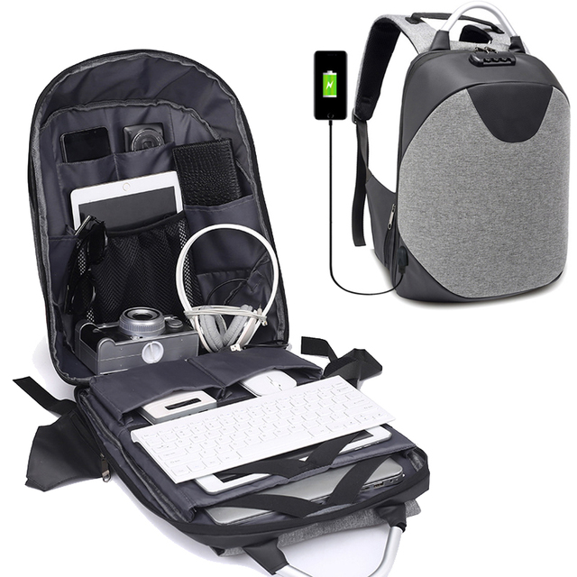 0e2f3568f9 Men Backpack USB Charging Business Backpack Male Lock Anti Theft Security  Large Canvas Travel Bag Laptop