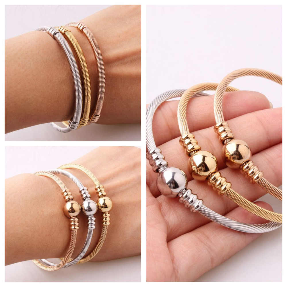 3pcs/Set Silver&Gold&Rose Gold Tone 316L Stainless Steel Wire Cable Chain Charm Womens Cuff Bangle Bracelet Jewelry  3mm