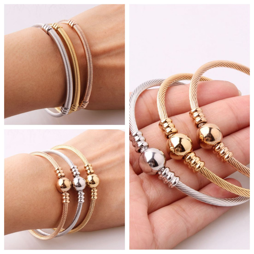 3pcs/Set Silver&Gold&Rose Gold Tone 316L Stainless Steel Wire Cable Chain Charm Womens Cuff Bangle Bracelet Jewelry Gift 3mm