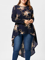 LANGSTAR 2018 New Plus Size Tiny Floral High Low Hem Blouse Crew Neck Casual Full Sleeve