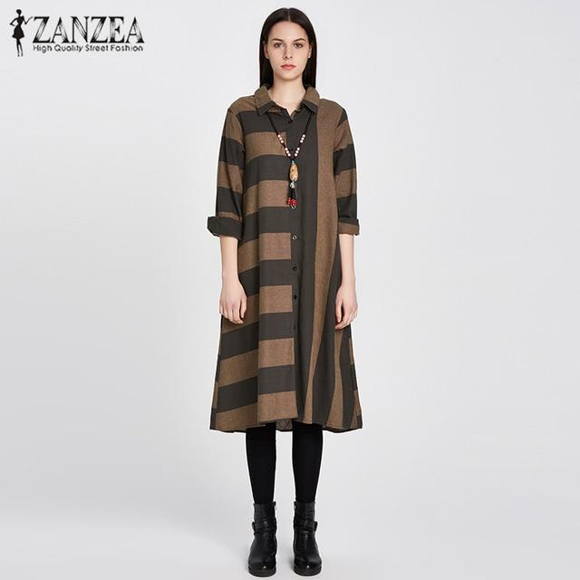 ad69e89c145 ZANZEA Vintage Women Turn Down Collarl Buttons Down Shirt Batwing Oversized  Stripe Long Shirt Dress Kaftan Outwear Vestido