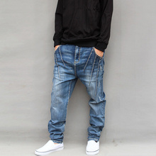 2016 новых прибыть осень зима повседневная Гарем большие промежность мужчины свободные джинсы плюс размер плюс размер свободные мужчины длинные джинсы синий