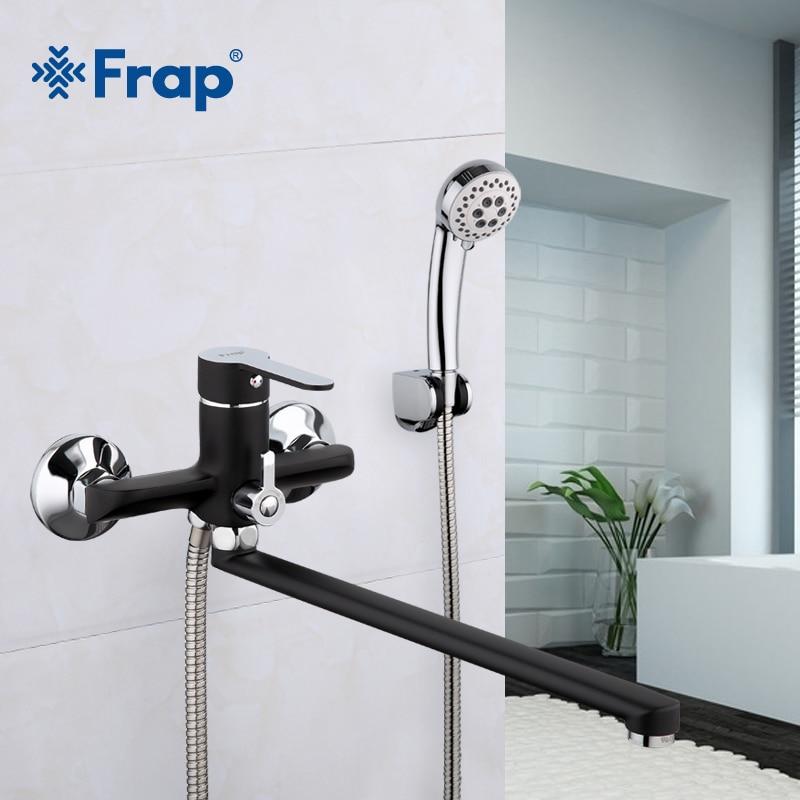 Frap Bathroom Faucet Brass Shower Bathtub Faucet Cold Hot Water Mixer Tap Torneira 1 Set Black