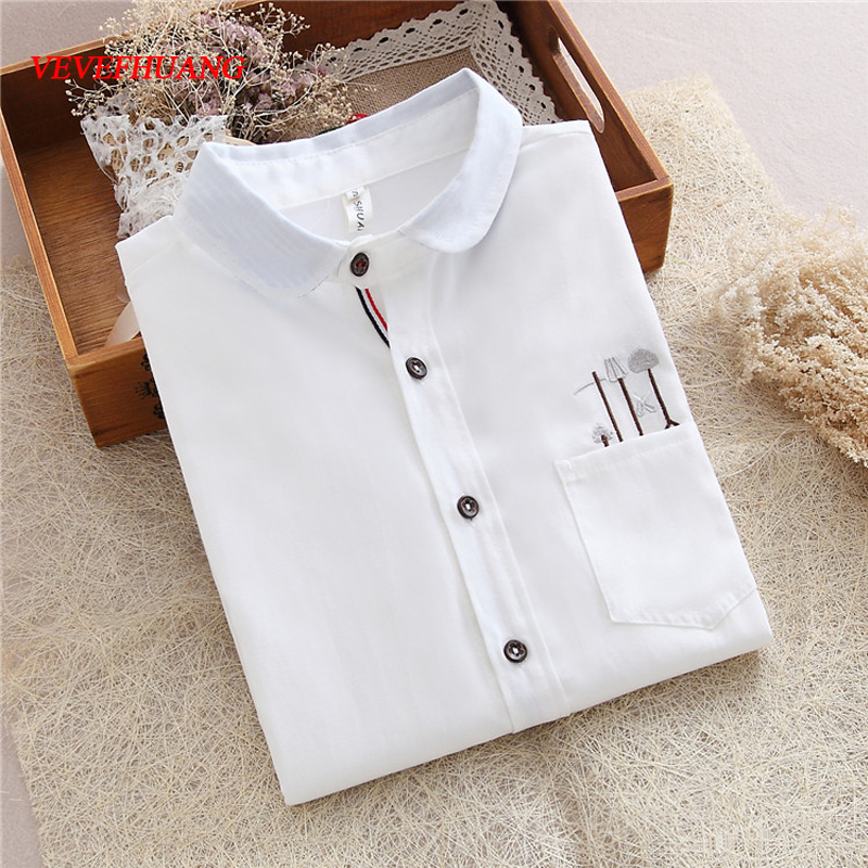 Japanese Mori Girl Style New Autumn Women Blouses Embroidery Long Sleeve White Shirt Woman Clothing