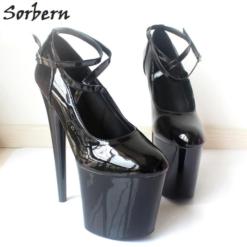 Womens Shiny Platform Chunky High Heels Cross Straps Pumps Platform Shoes Party