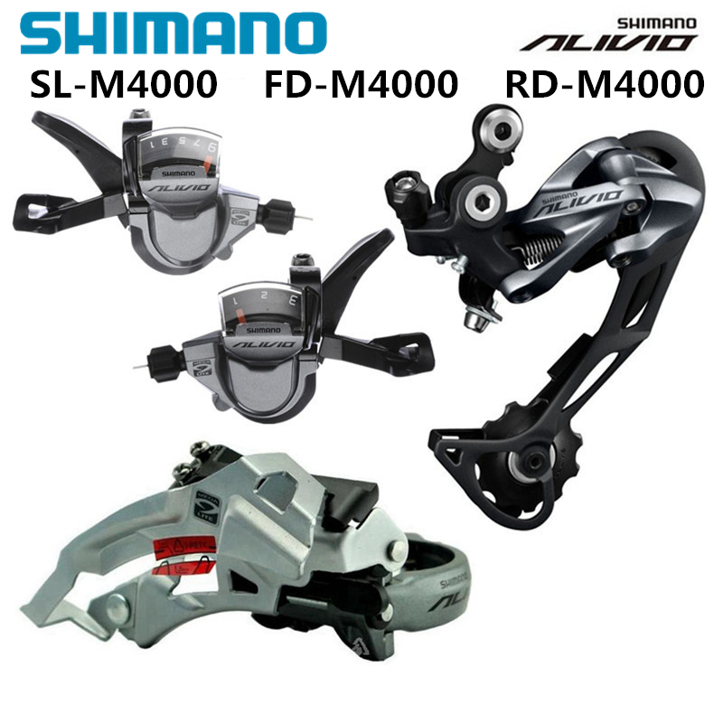 SHIMANO ALIVIO M4000 9S 27S Speed MTB Bicycle Groupset Kit 3 Parts with Shifter Lever & Front and Rear Derailleur shimano alivio m4000 m4050 t4060 3x9s 27s speed mtb bicycle groupset with hydraulic disc brake integrated