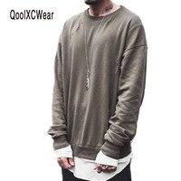 Streetwear Drake Kanye Yeezy Season Fear Of God Pullover Men Sweat Green Ripped Oversized Mens Crew