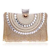 Для женщин сумки Стразы кисточкой сцепления алмазы бисером металла Вечерние сумки цепи плеча кошельки и Сумки Роскошные