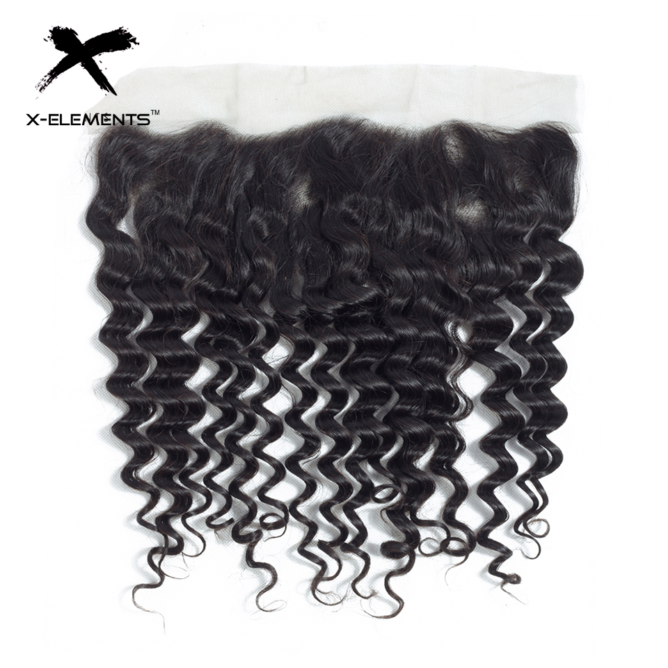 X-Elements Brazilian Deep Wave Frontal 100% Human Hair 13x4 Lace Frontal Deep Wave Non-Remy Natural Color Hand Tied Lace Frontal (2)