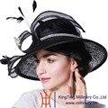 June'syoung 2015 Verano Nueva Moda Sinamay Sombreros 100% Color Sinamay Noble Negro Taladro Determinado de Encaje de Plumas Dama Elegante sombreros de Ala Sombreros