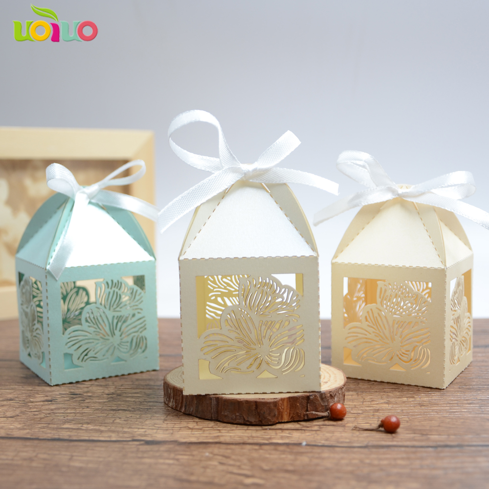 wine red Romantic Wedding Favor Boxes and Bags Laser Cut Gift lotus ...