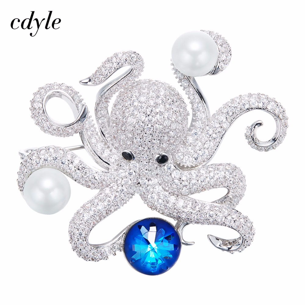 Cdyle Crystals from Swarovski Brooches Women Brooches Austrian Rhinestone Fashion Jewelry Elegant Lovely Octopus Shape ladylike elegant style rhinestone embellished bowknot shape women s hairpin