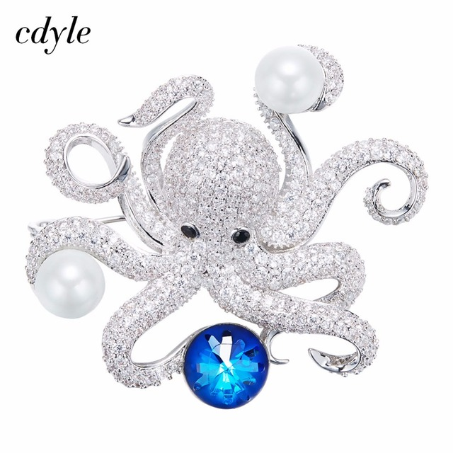 Cdyle Crystals from Swarovski Brooches Women Brooches Austrian Rhinestone  Fashion Jewelry Elegant Lovely Octopus Shape faaa8928db