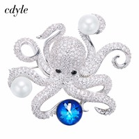 Cdyle Crystals from Swarovski Brooches Women Brooches Austrian Rhinestone Fashion Jewelry Elegant Lovely Octopus Shape