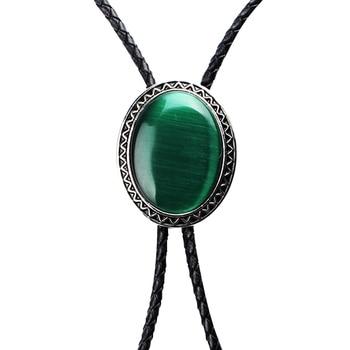 Винтажное Ковбойское ожерелье с галстуком из натуральной эмалированной кожи с зеленым опалом