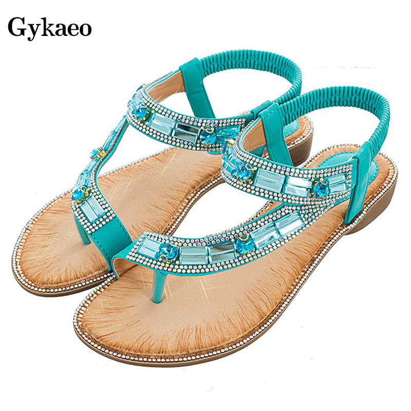 Gykaeo Summer Shoes Fashion Sandals Flat-Soled Bohemian-Style Stripe Blue Women Ladies