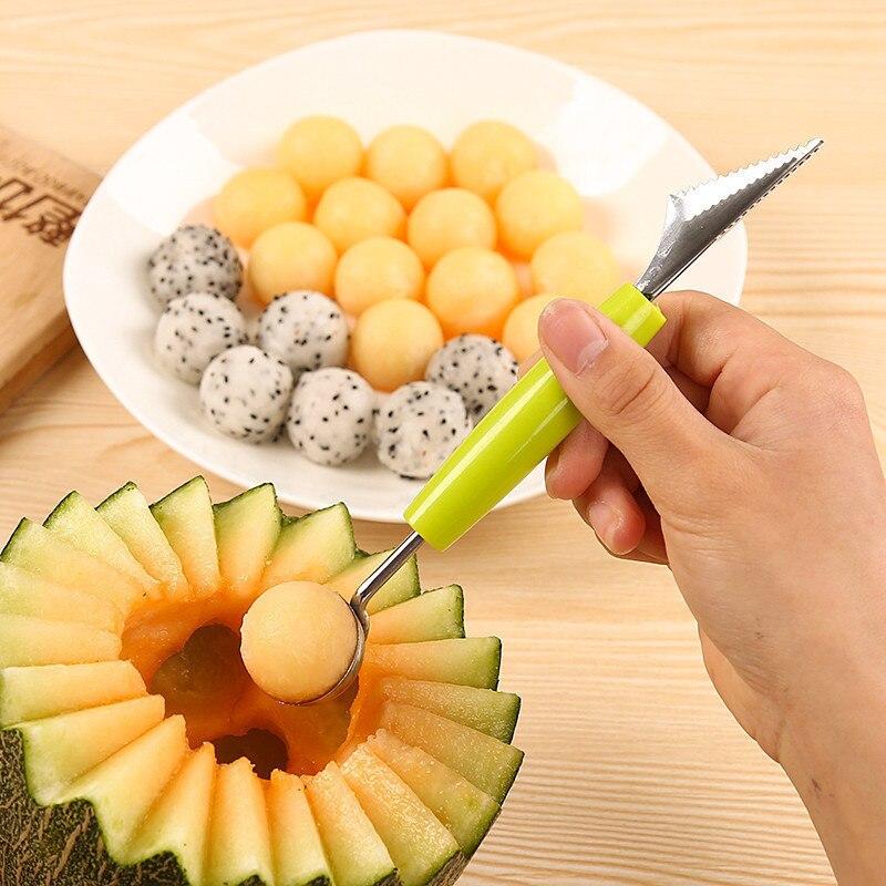 Gran oferta 2 en 1 cuchillo de talla de bola de fruta de acero inoxidable de doble cabeza cuchara para sandía cuchara creativa