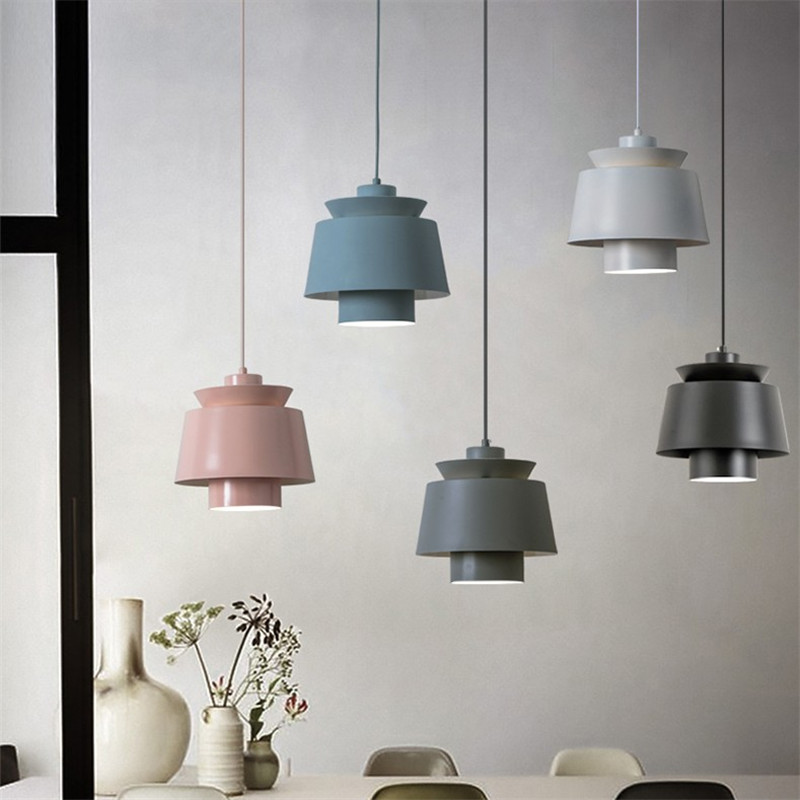 Nordic Design Modern Iron LED Pendant Light Loft Simple Hanging Lamp Deco Home Dining Room Pendant Lights Lighting Fixtures