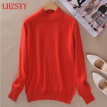 цены на Fall winter NEW female half high round neck Cashmere Blending Sweaters Slim Loose hedging Sweater knit  bottoming Wool Sweater  в интернет-магазинах