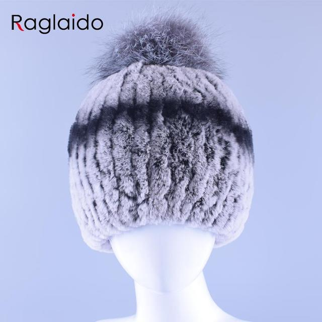 6Colors Rex Rabbit Fur Pompom Hats Elastic Beanie Women Hat Real Fur Hand Knitted Winter Tops Cap Warm Thick Headgear LQ11149