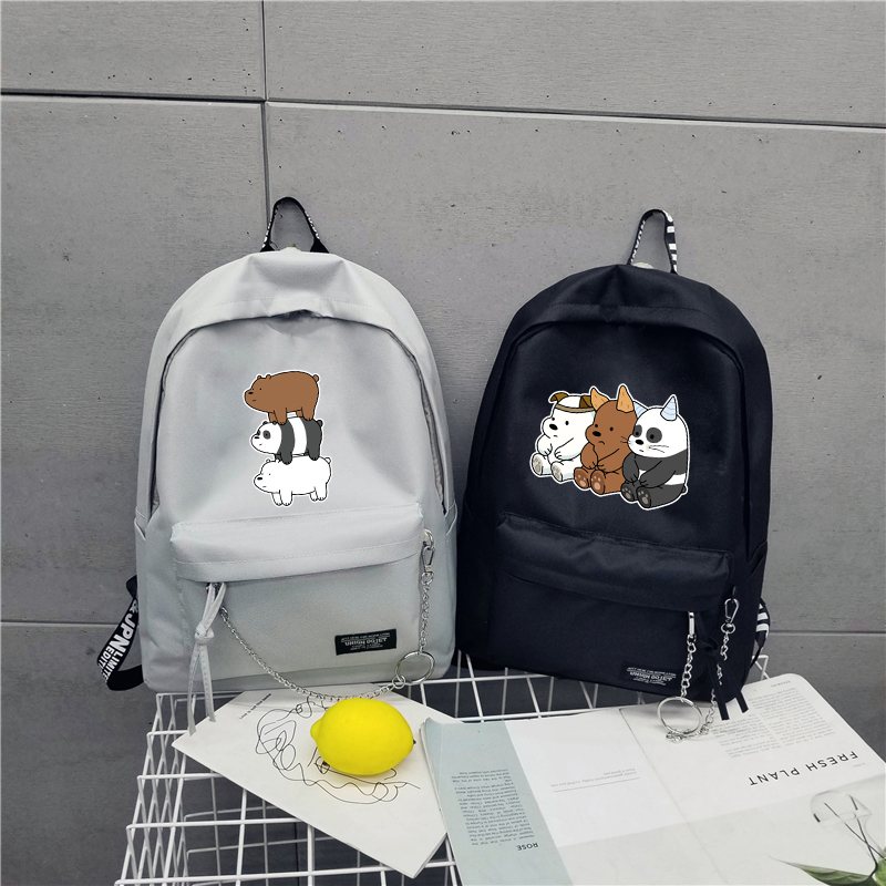 We bare bears backpack girls candy color shoulder schoolbag Lovely Grizzly Panda Ice Bear students schoolbag traveling knapsack блокнот printio we bare bears
