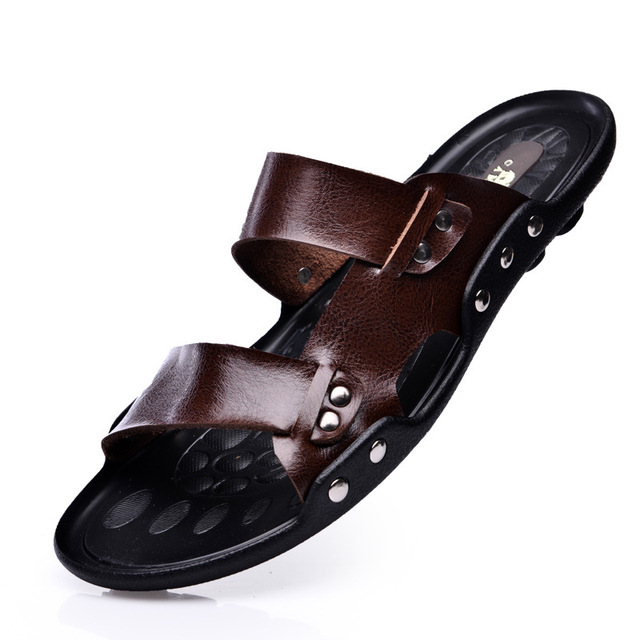 9e431c064233 Summer Men Casual Gladiator Sandals Flat Beach Slippers Genuine Leather  Slides Designer Flip Flops Male Shoes Sandalias XK021805