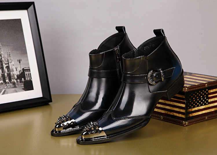 Factory sell patent leather rivets studded anke boots men genuine leather zipper pointy toe chelsea military boots safety shoesFactory sell patent leather rivets studded anke boots men genuine leather zipper pointy toe chelsea military boots safety shoes