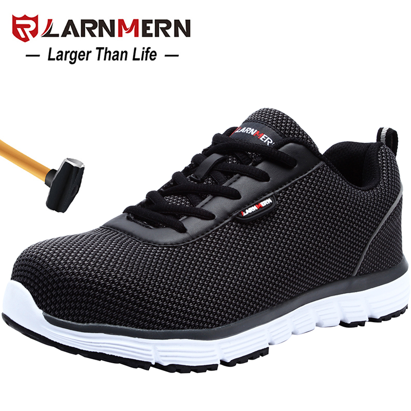 LARNMERN Men's Safety Work Shoes Steel Toe Lightweight Breathable Anti-smashing Non-slip Reflective Casual Sneaker