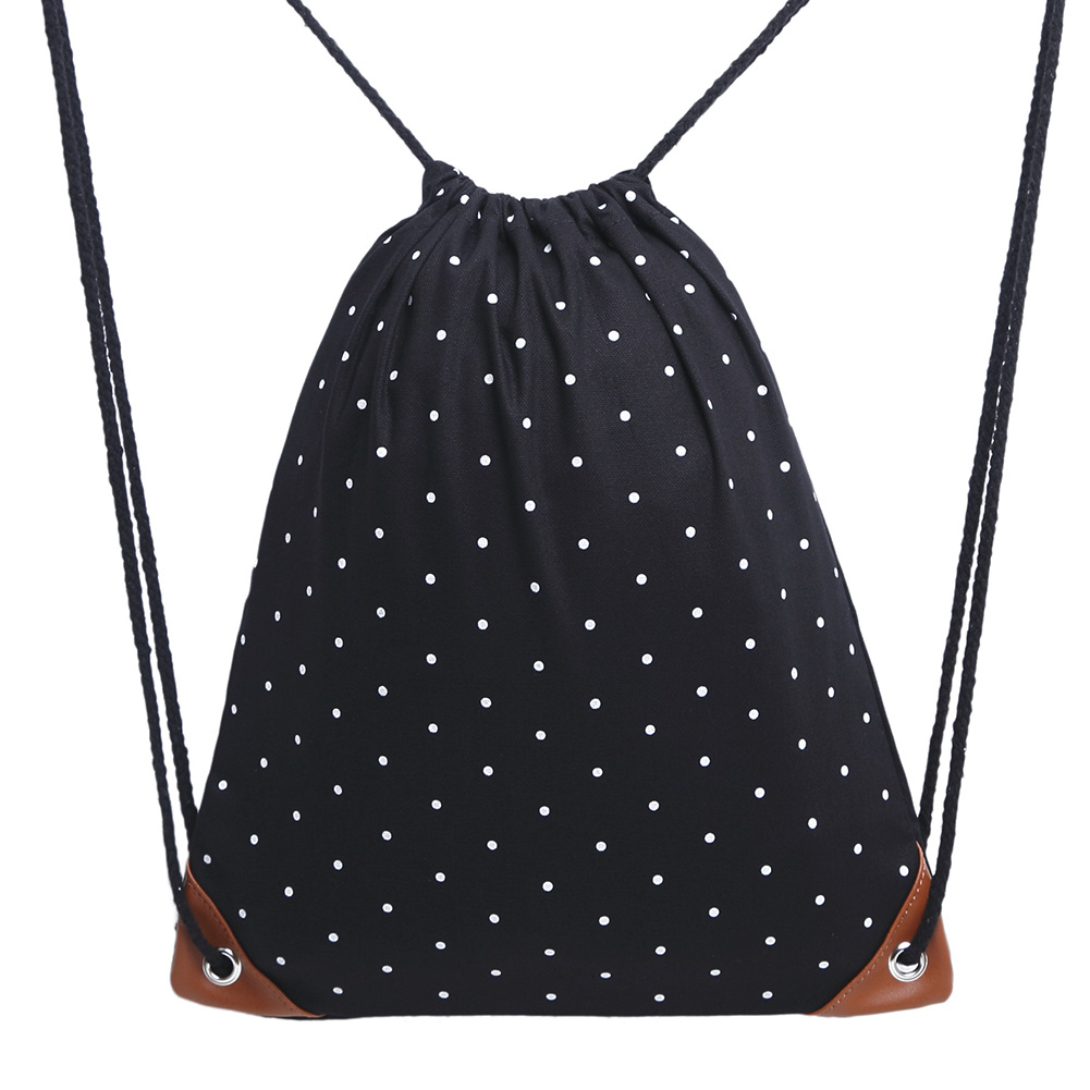 Retro Drawstring Bags Women Men Backpack Canvas Dots Printing Backpack For Teenagers School Shoulder Bag Travel Storage Pouch