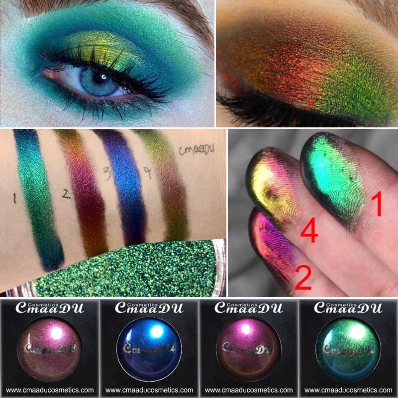 Cmaadu Color a 4 luz polarizada brillo de paleta de sombra de ojos de mujer azul ahumado brillo metálico sombra de ojos maquillaje TSLM2